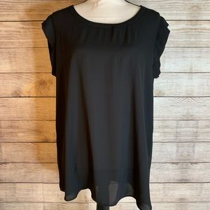 Pleione Black Sheer Blouse With Minor Cap Sleeves